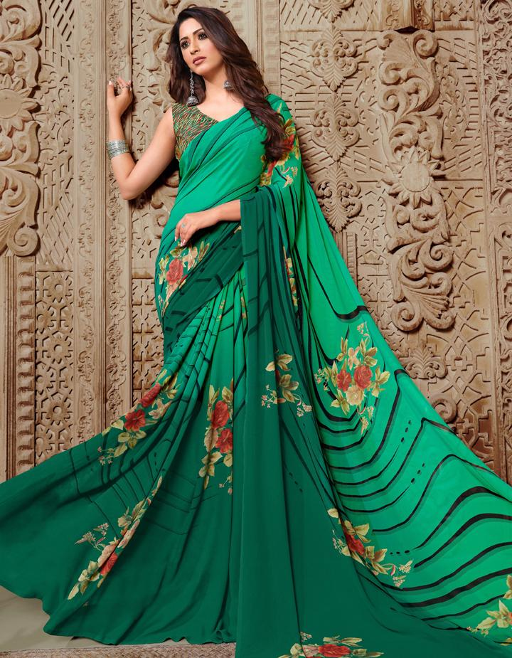 Green Georgette Saree With Blouse IW24631