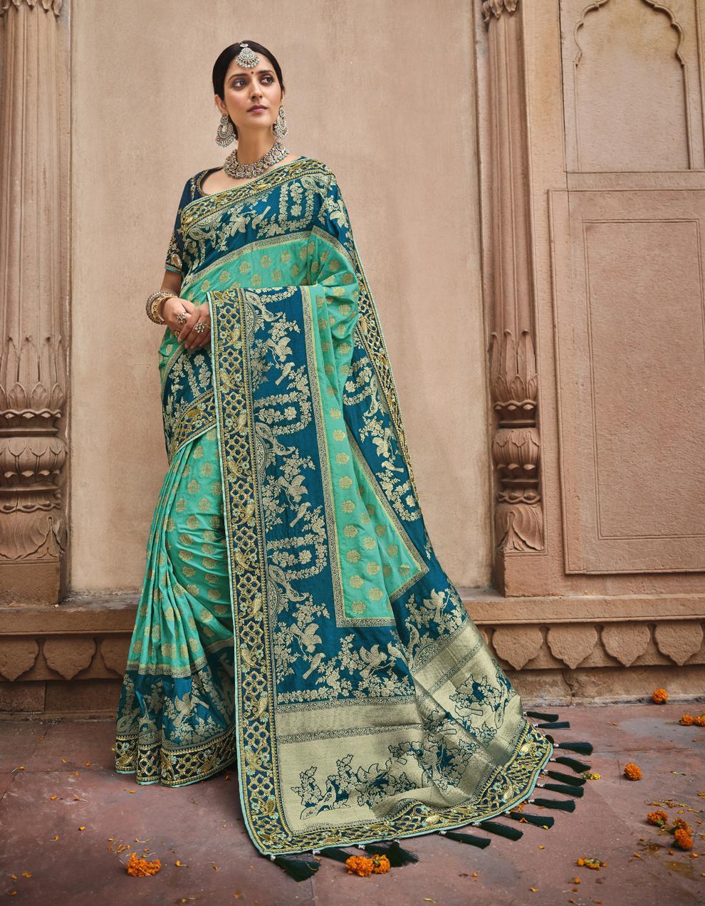 Multicolor Dola Silk Saree With Blouse SD25182