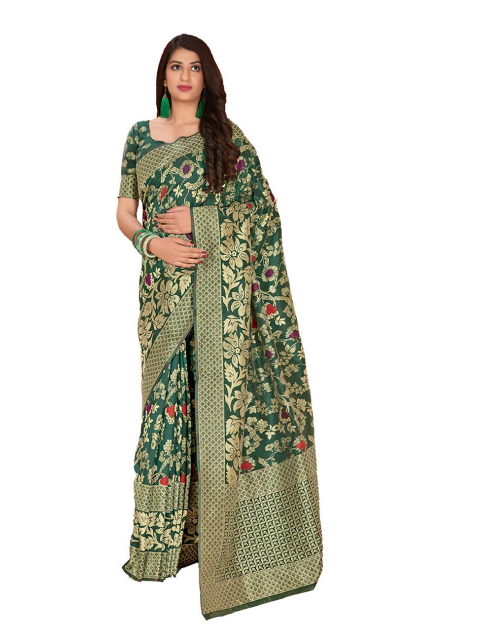 Dark green Silk Saree With Blouse SD23855
