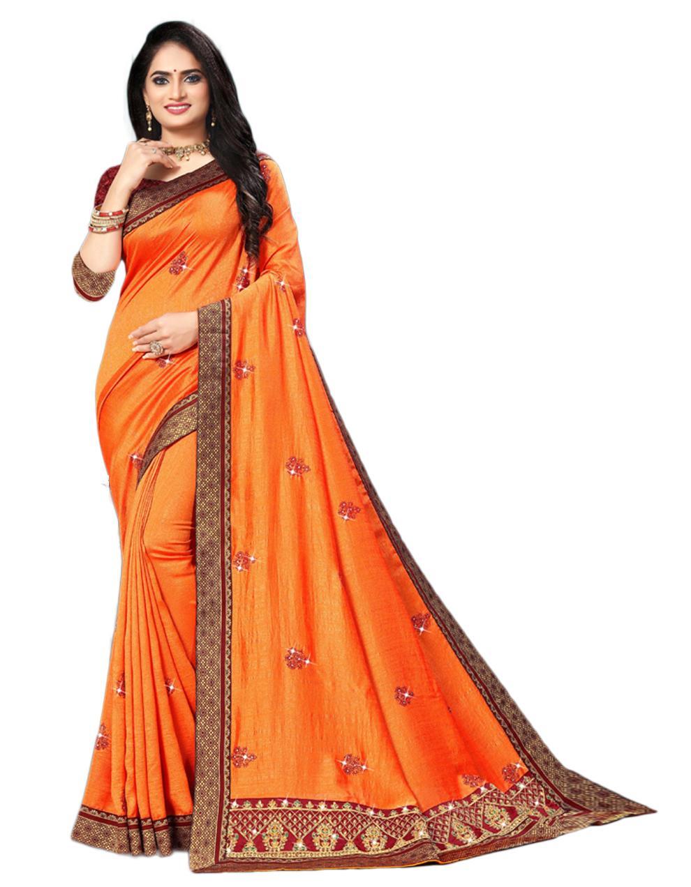 Orange Vichitra silk Saree With Blouse IW24274
