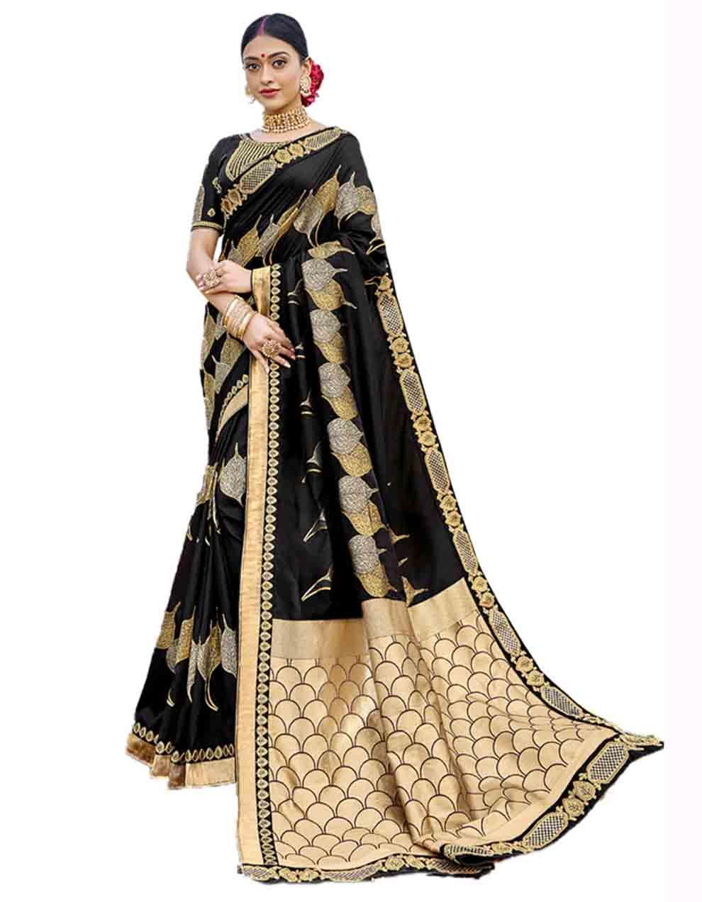 Black Silk Saree With Blouse SD23765