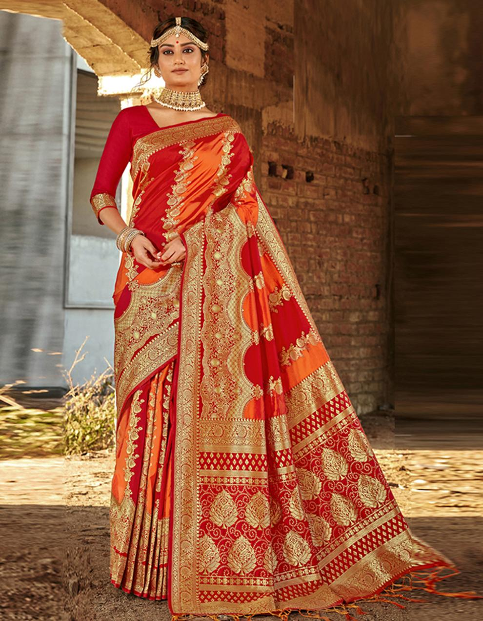Multicolor Banarasi Saree With Blouse SD24170