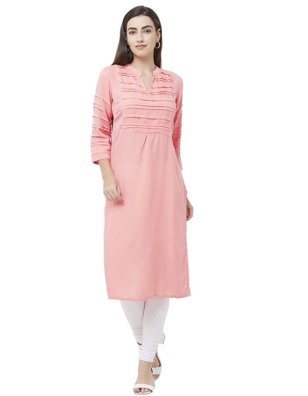 Viscose Linen Pink Straight Kurti KDB1291