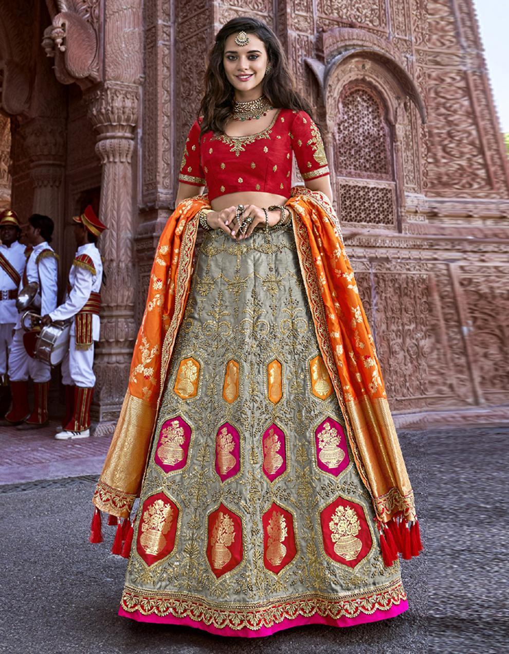 Banarasi Silk Multicolor Semi Stitched Lehenga with Choli And Dupatta LSD2785