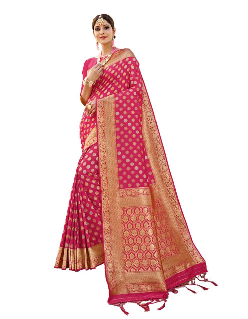 Pink Banarasi Silk Saree With Blouse SD24206