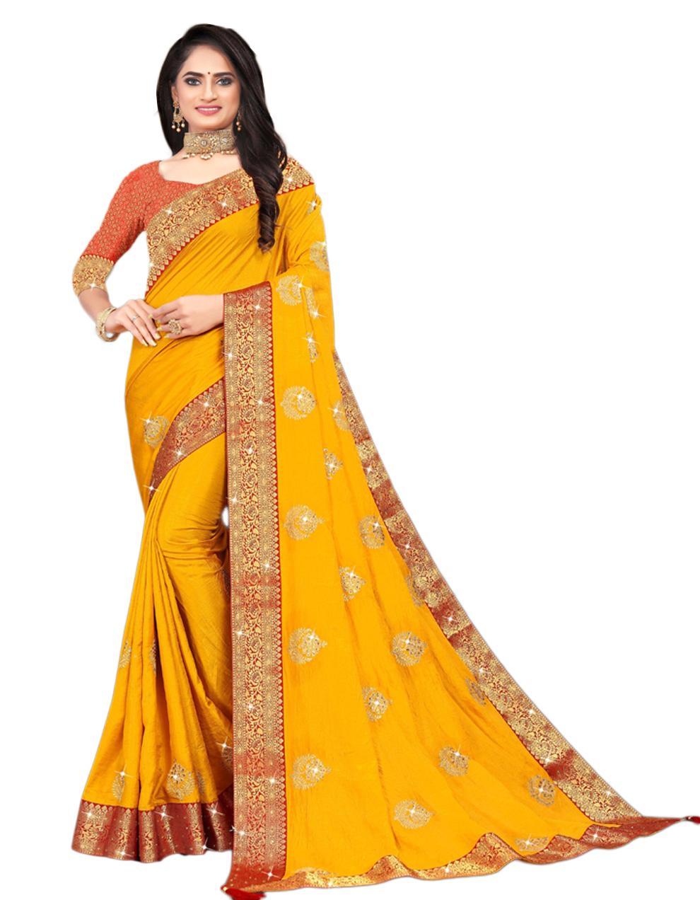 Yellow Vichitra silk Saree With Blouse IW24391