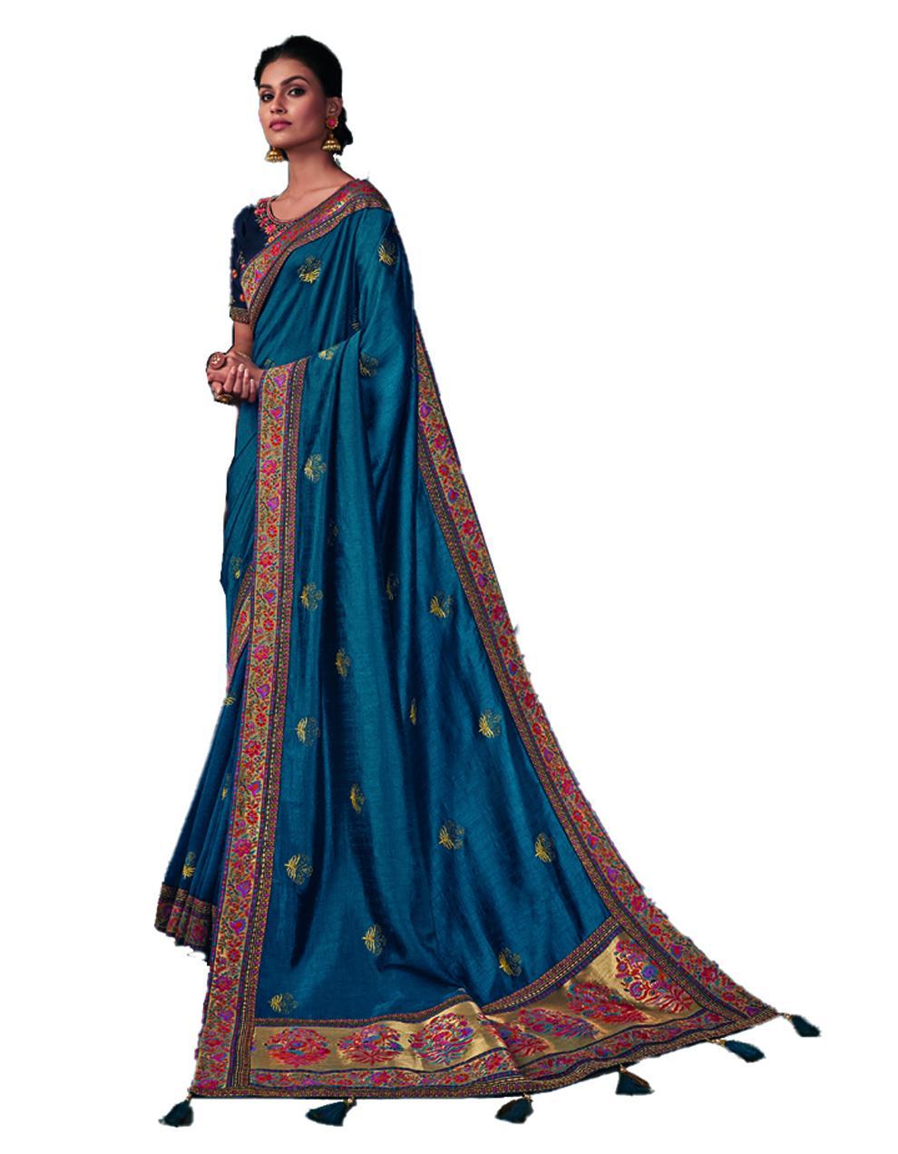 Blue Silk Saree With Blouse SD24201