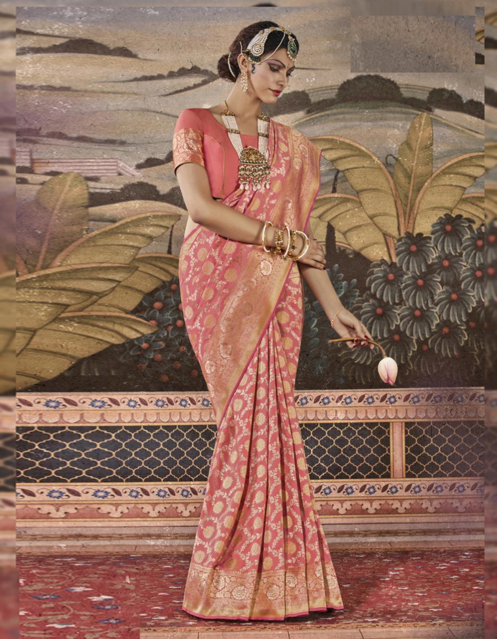 Peach Silk Saree With Blouse SD23834