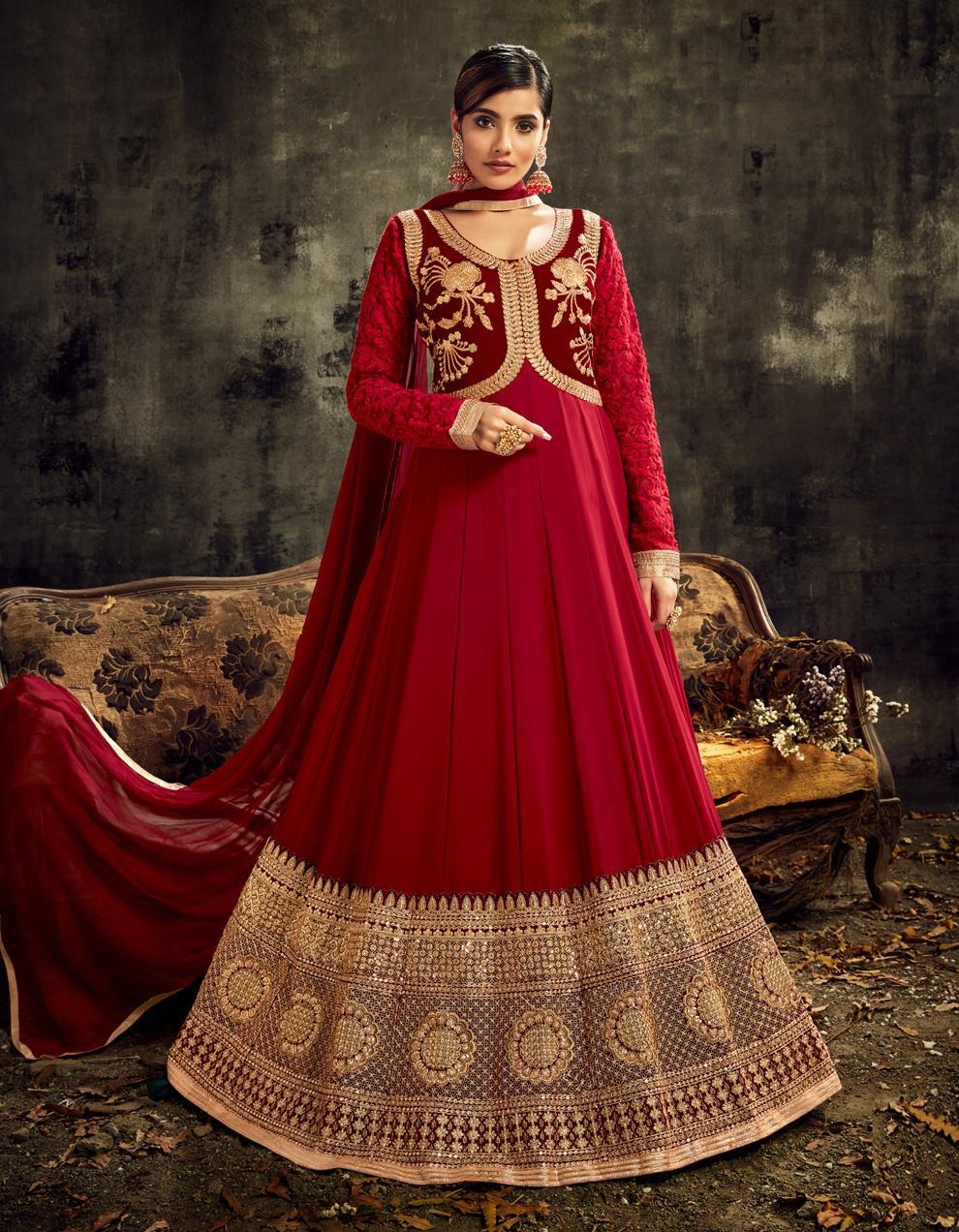 Maroon Georgette  Anarkali Suit SHL8573
