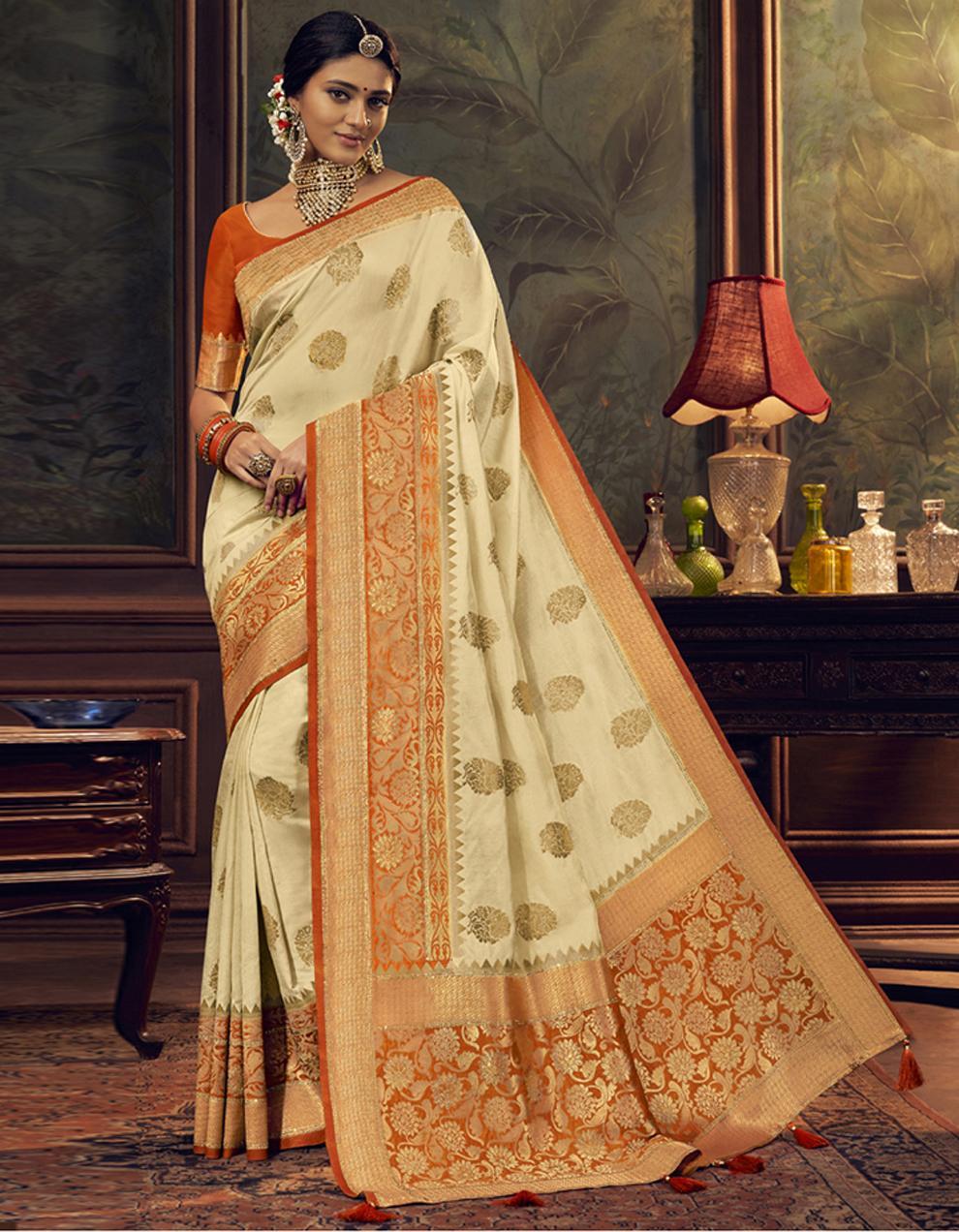 Cream Dola Silk Saree With Blouse SD24054