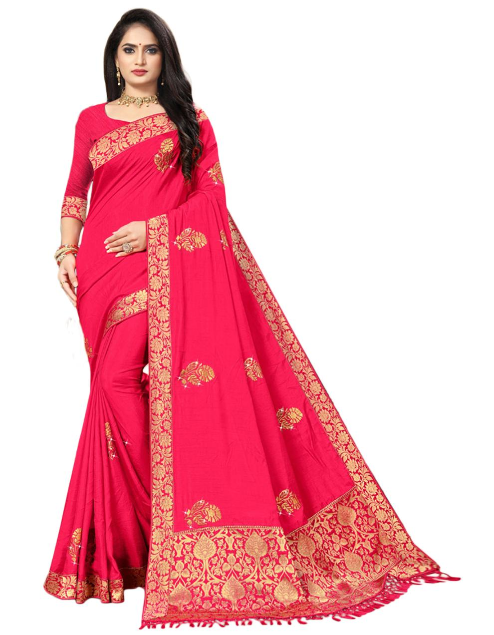 Pink Vichitra silk Saree With Blouse IW24349