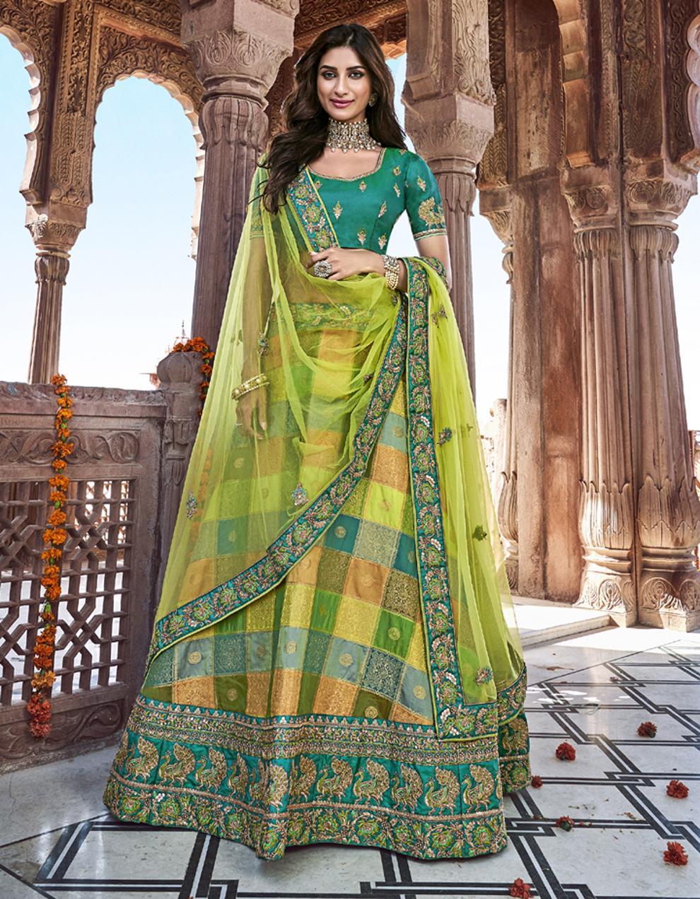 Banarasi Silk Multicolor Semi Stitched Lehenga with Choli And Dupatta LSD2792