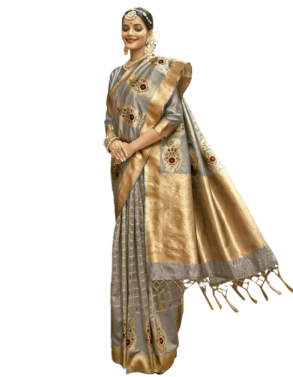 Grey Banarasi Silk Saree With Blouse SD24219