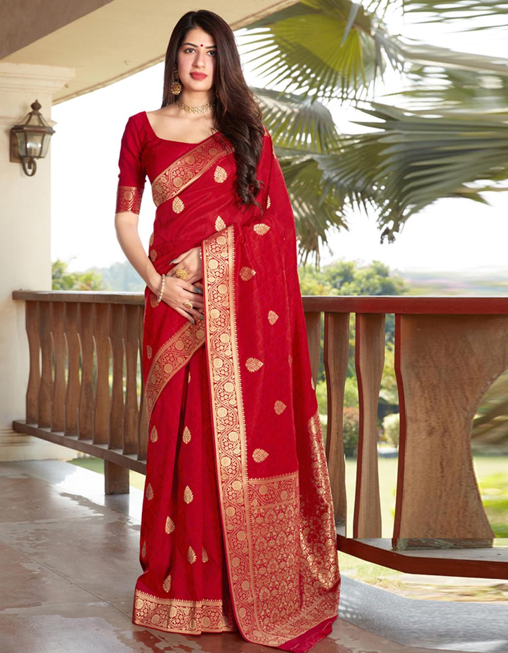 Red Silk Saree With Blouse SD24078