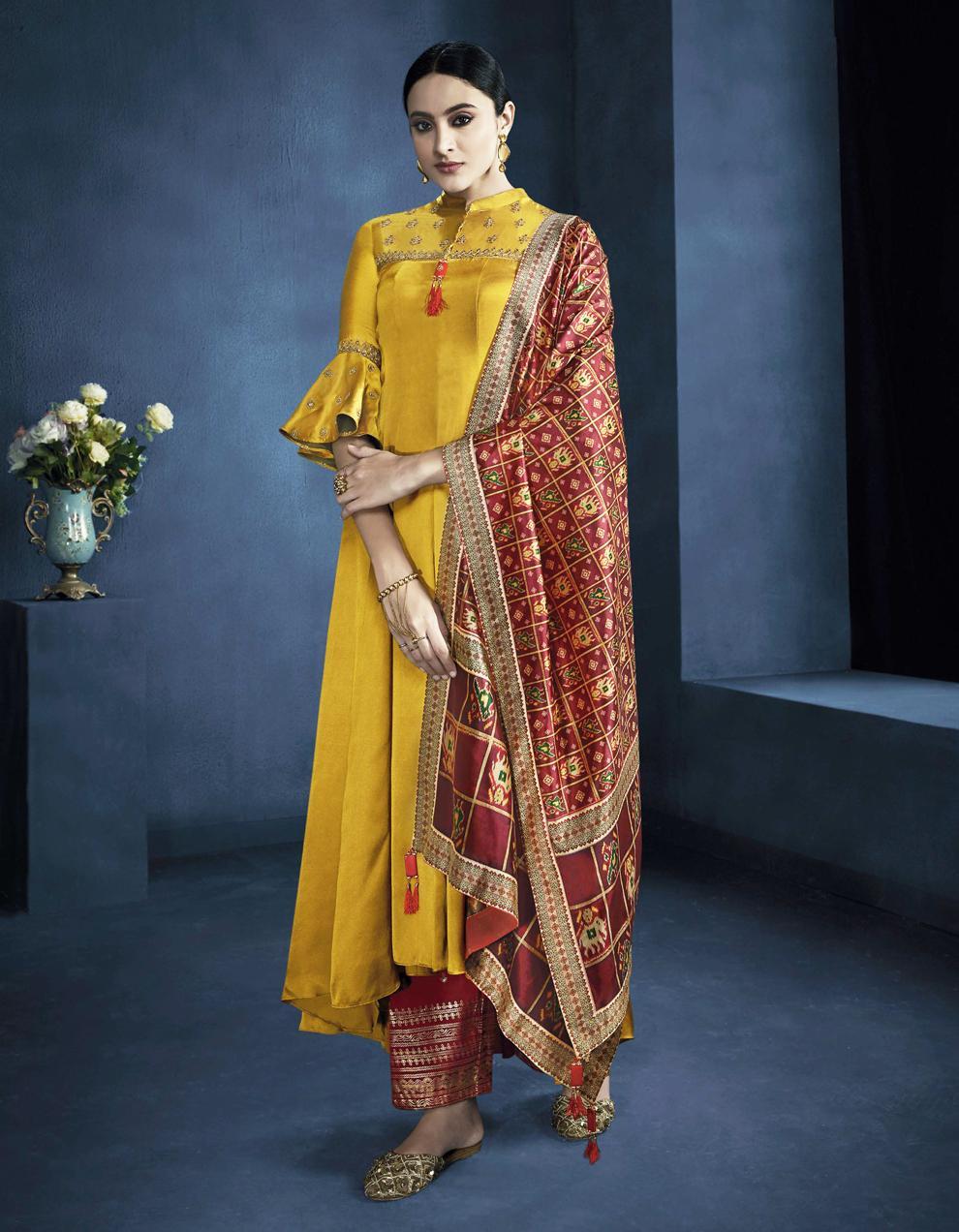 Yellow Satin Georgette Anarkali Suit SMF8551