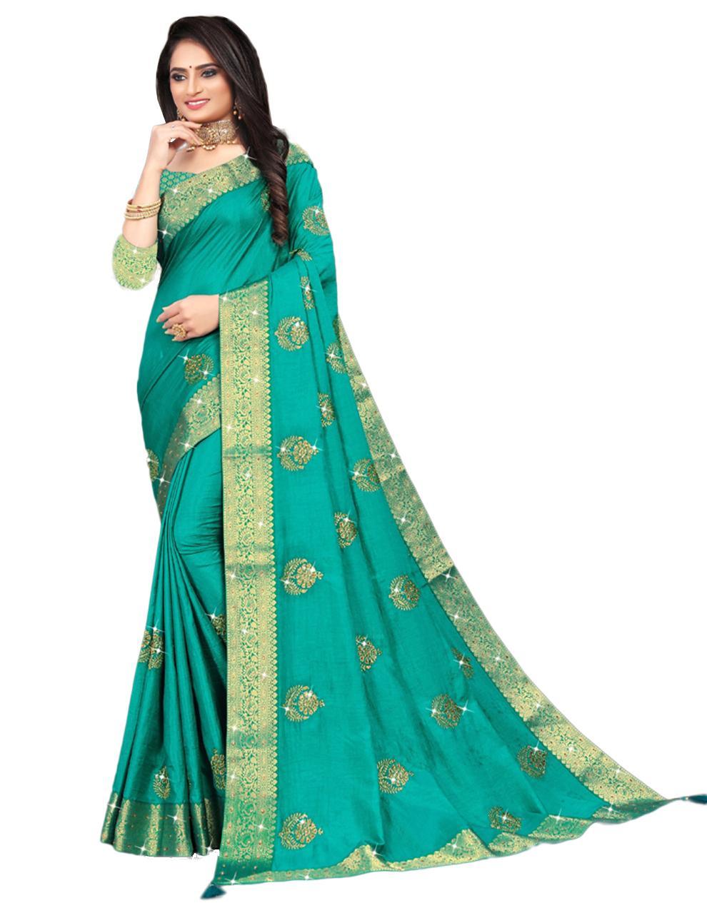Green Vichitra silk Saree With Blouse IW24394