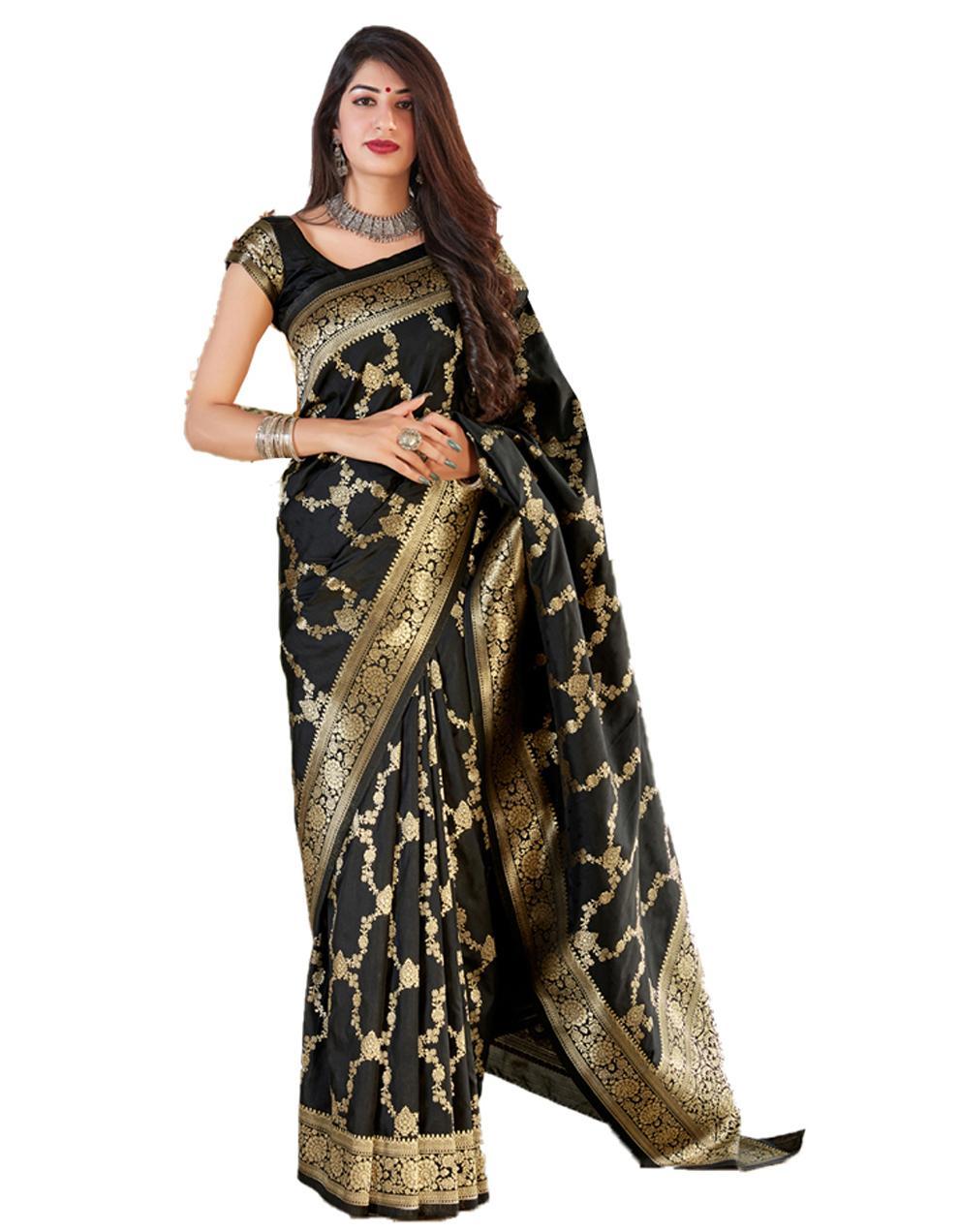Black Silk Saree With Blouse SD24127
