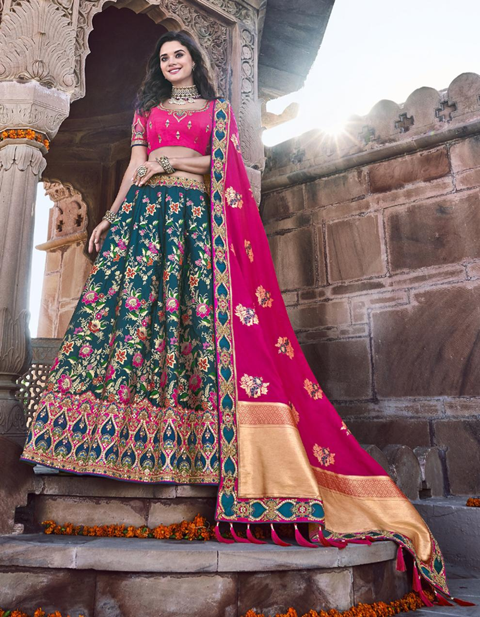 Banarasi Silk Multicolor Semi Stitched Lehenga with Choli And Dupatta LSD2789