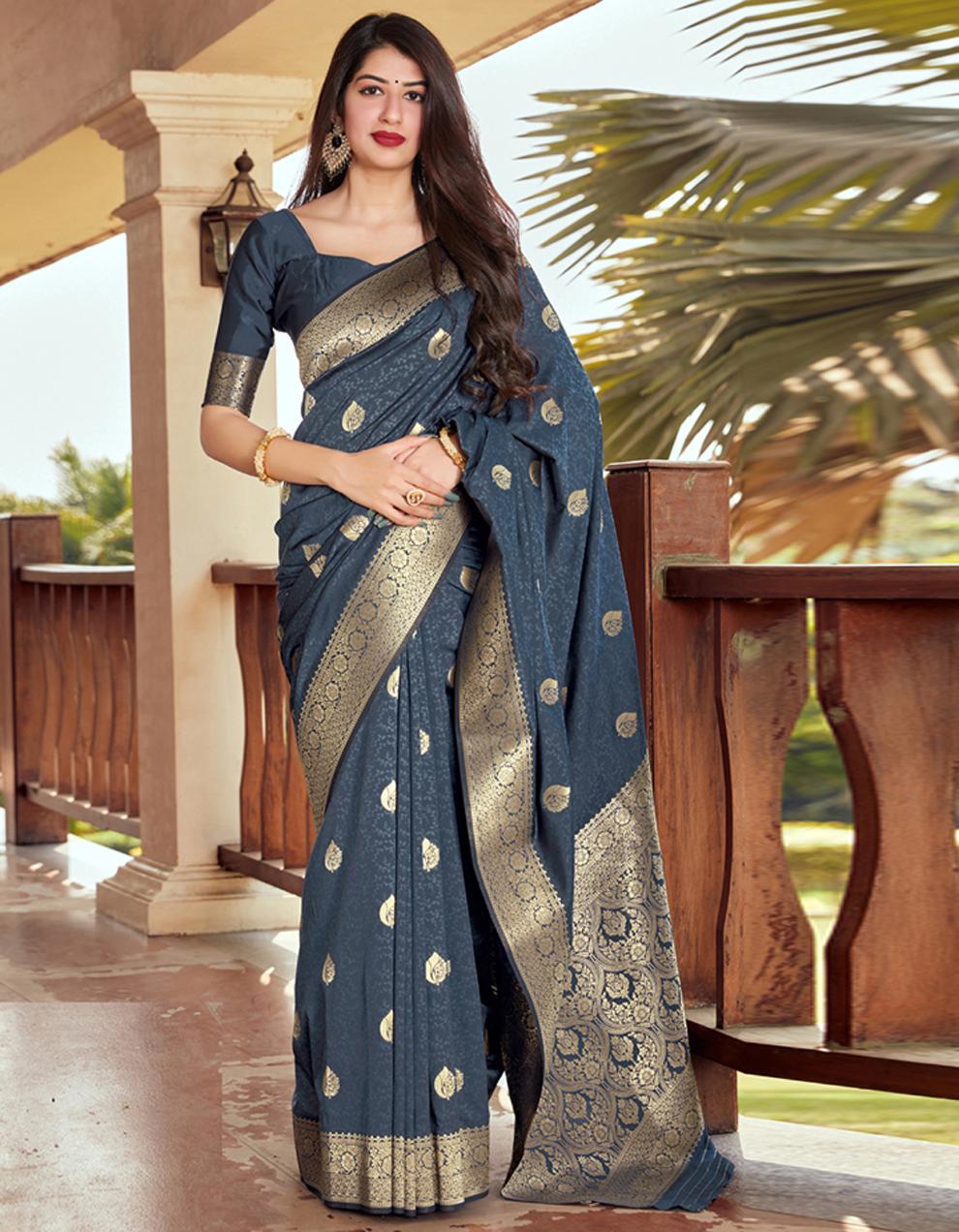 Dark Grey Silk Saree With Blouse SD24082