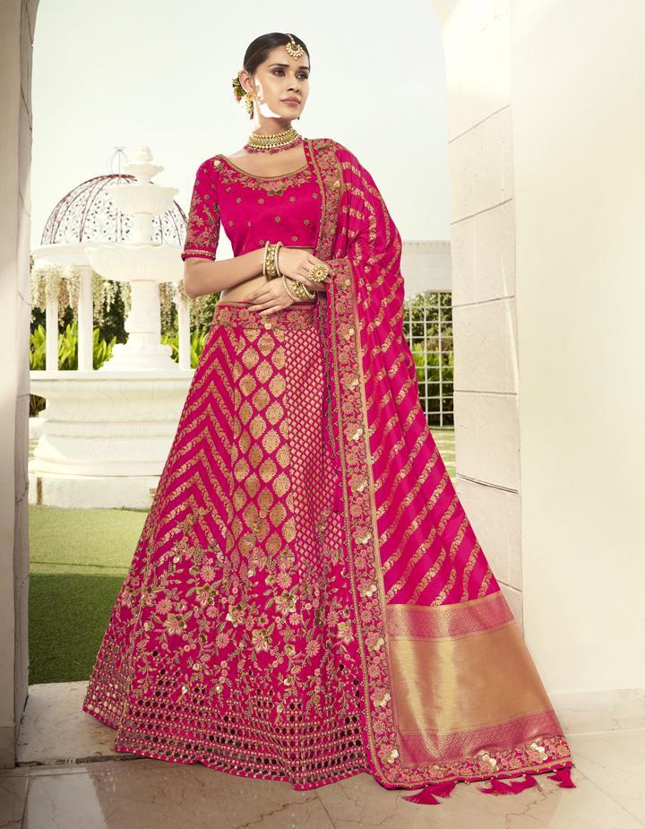 Banarasi Silk Rani pink Semi Stitched Lehenga with Choli And Dupatta LSD2815