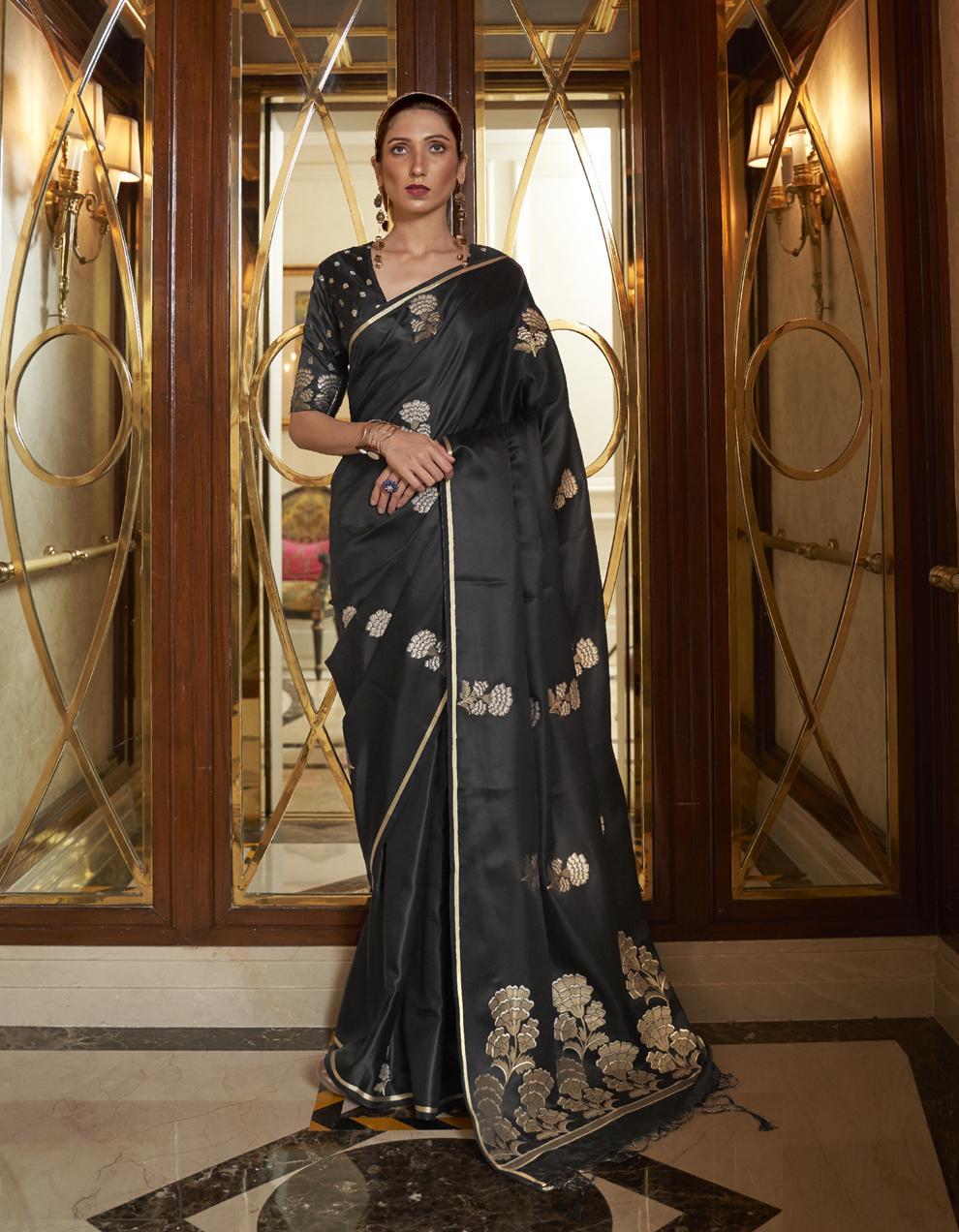 Black Pure Satin Silk Saree With Blouse SD25260