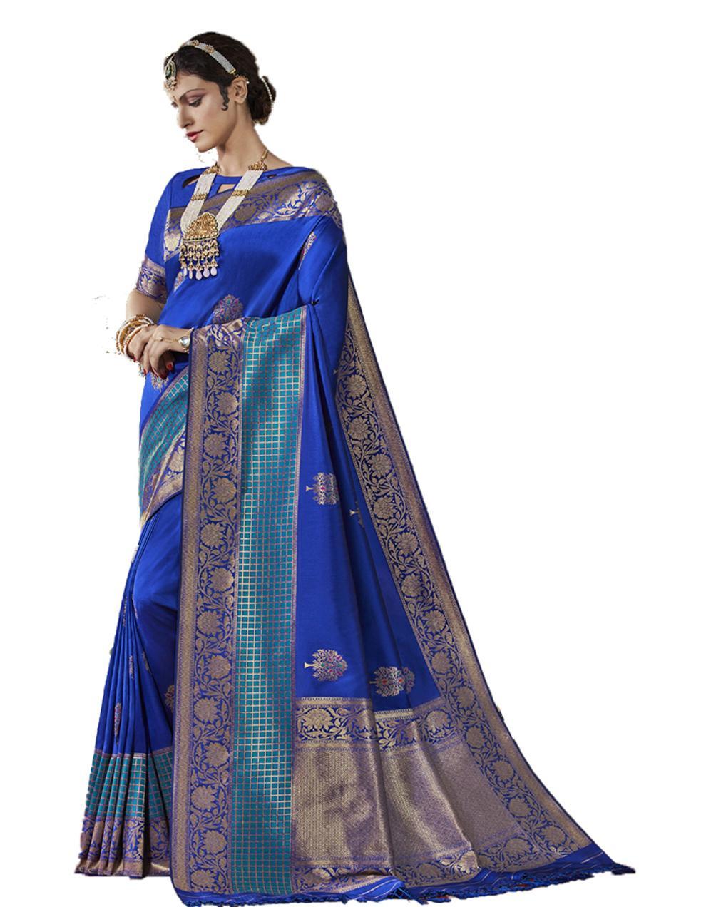 Blue Silk Saree With Blouse SD23837