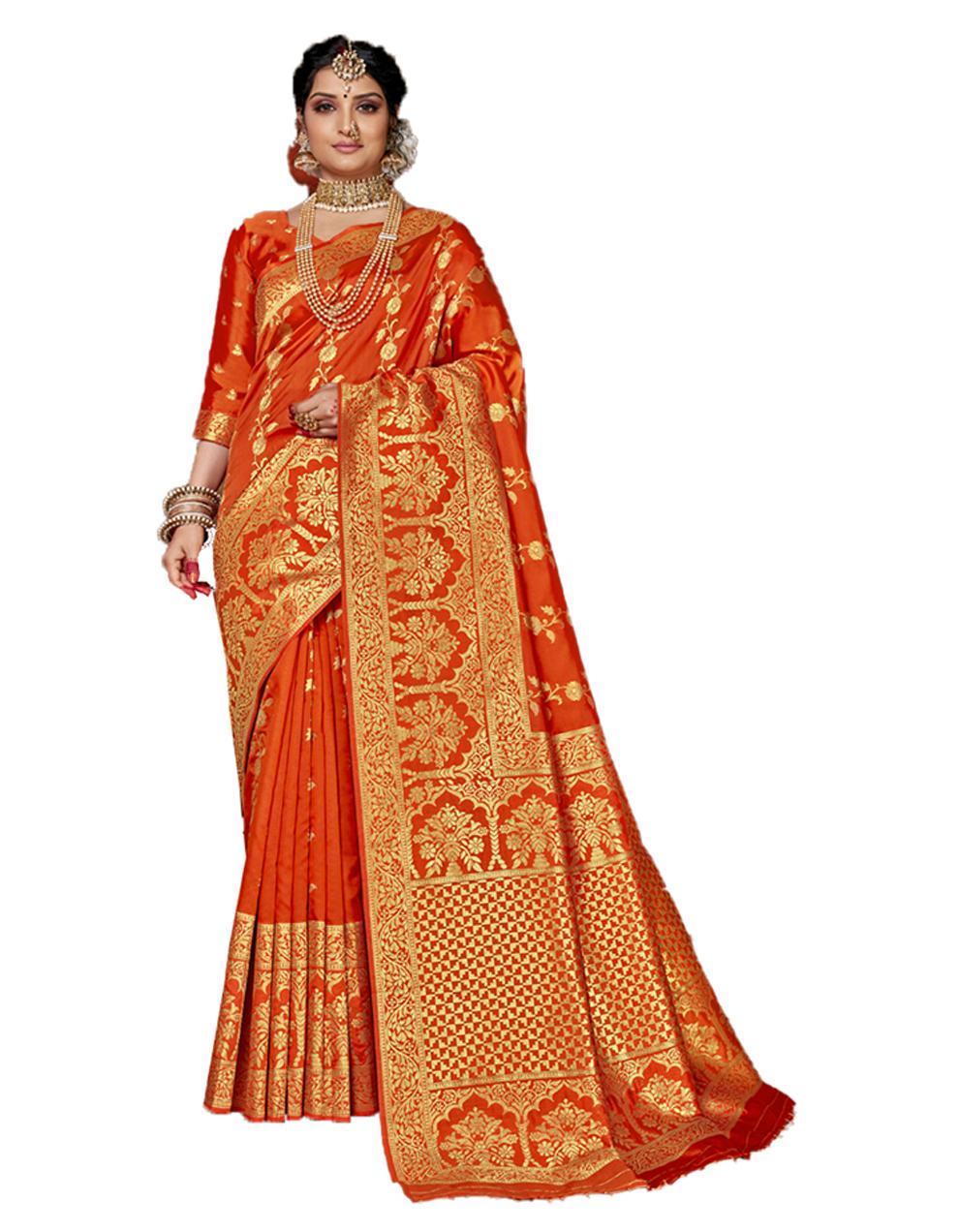 Orange Banarasi Silk Saree With Blouse SD24153