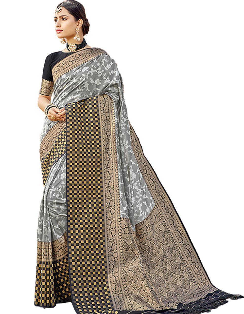 Multicolor Silk Saree With Blouse SD23786