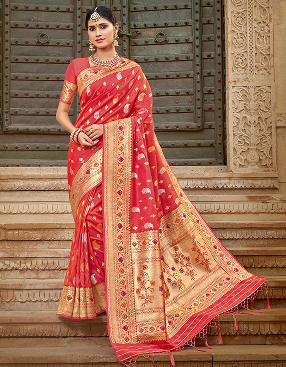 Red Silk Saree With Blouse SD23774
