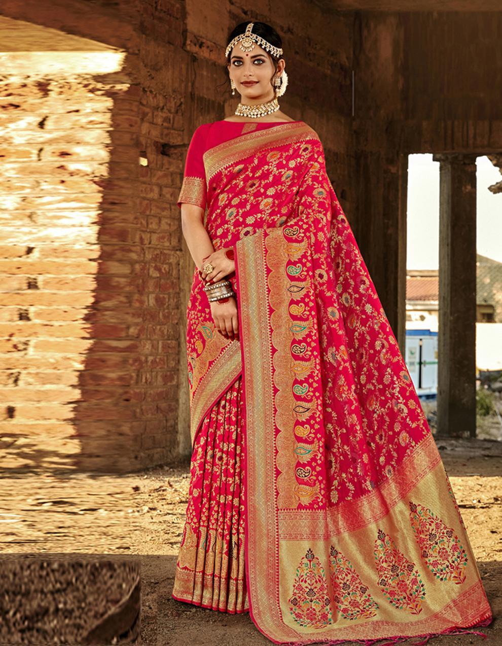 Red Banarasi Saree With Blouse SD24172