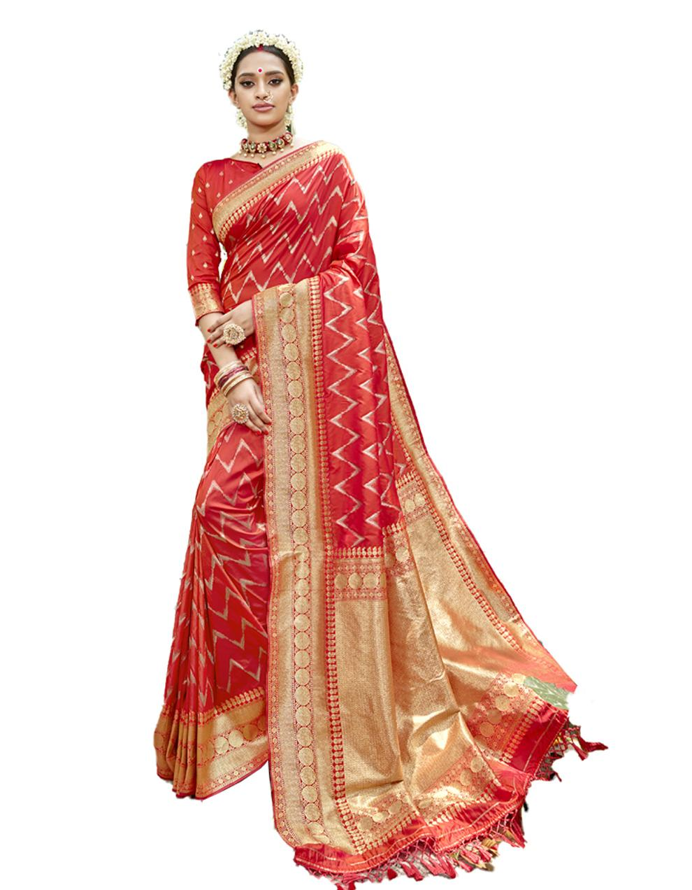 Tomato red Silk Saree With Blouse SD23814