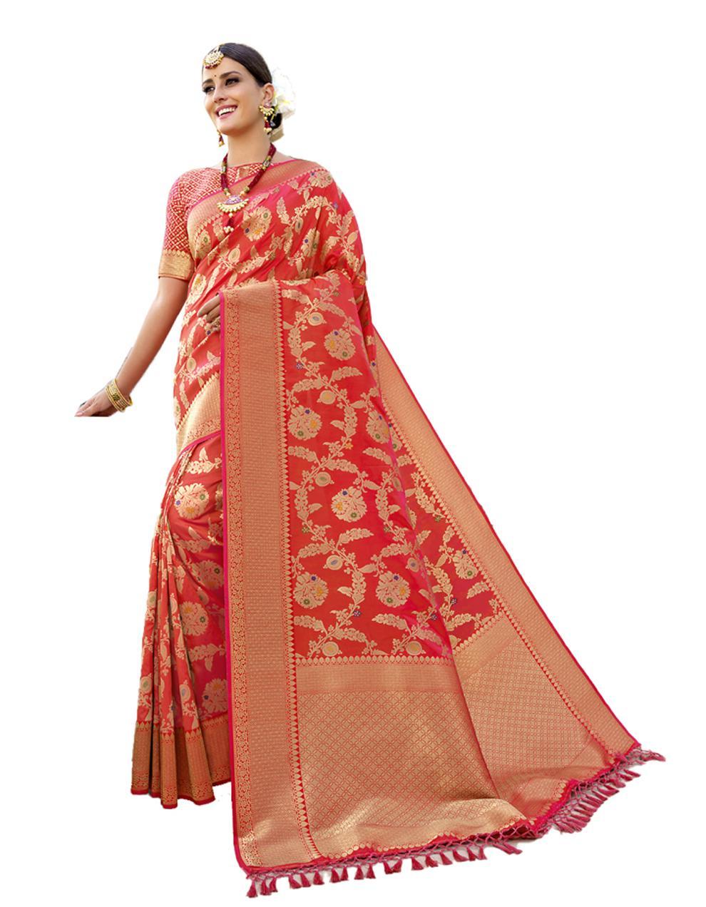 Red Banarasi Silk Saree With Blouse SD24208
