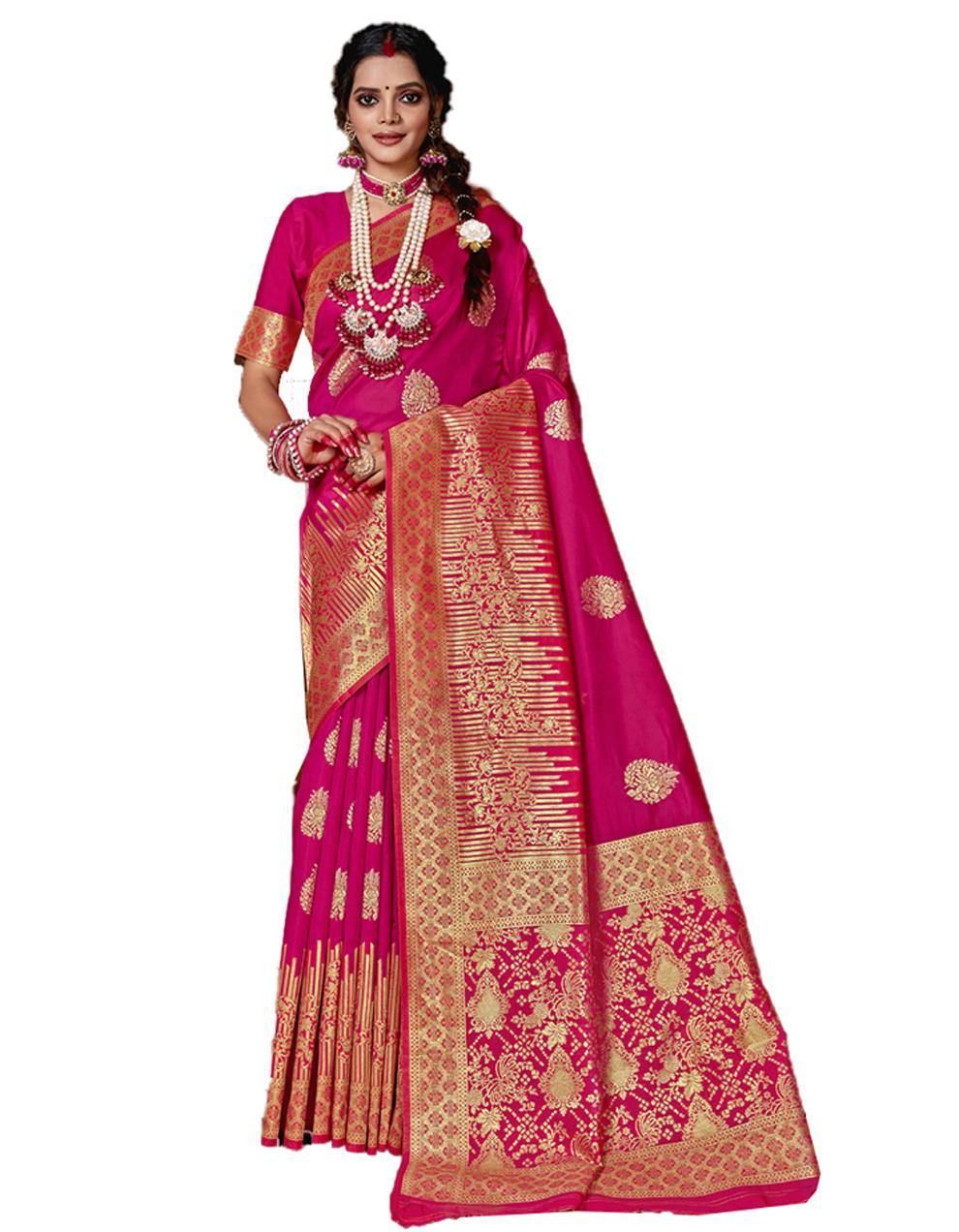Pink Banarasi Silk Saree With Blouse SD24157