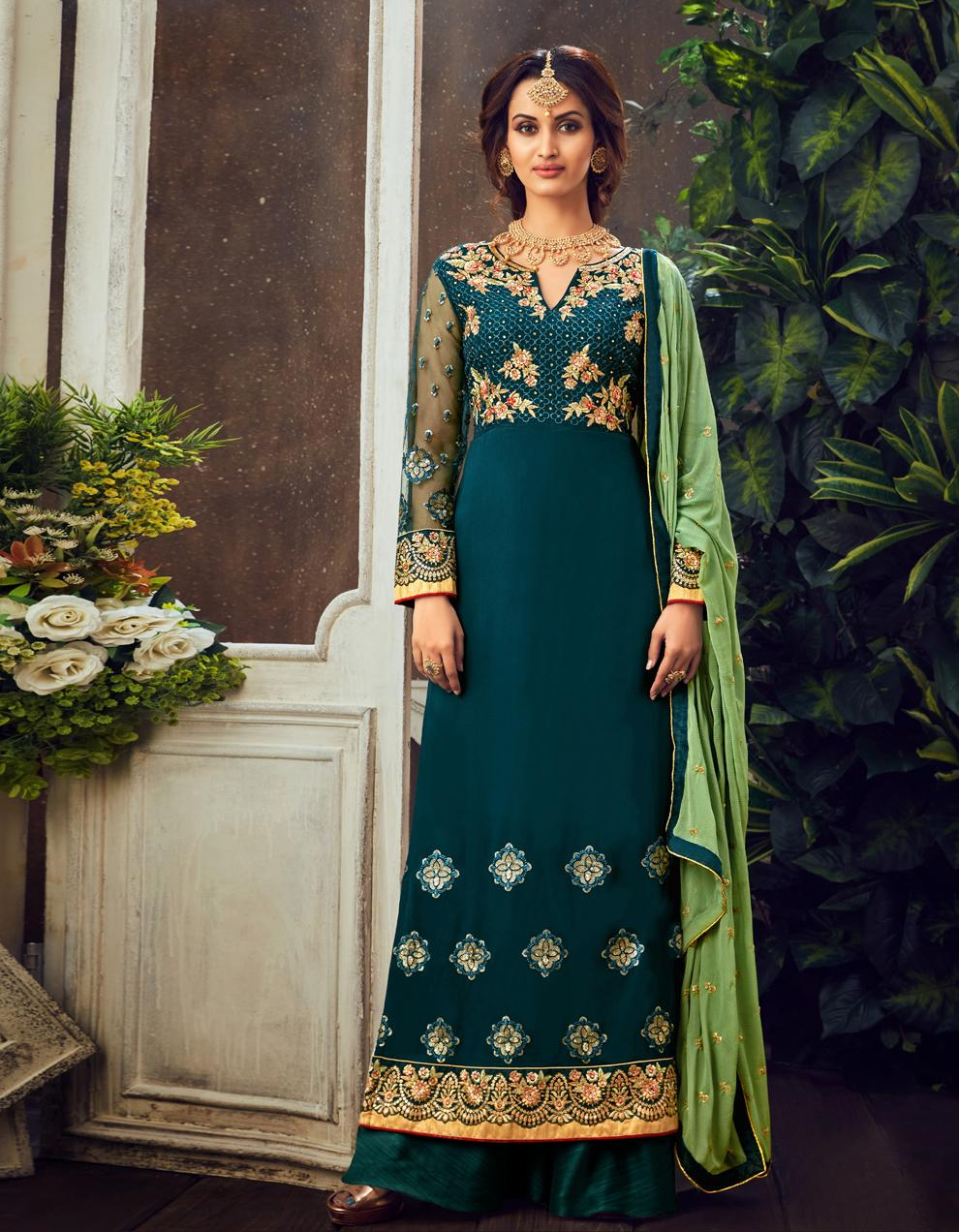 Teal Pure Georgette Straight Suit SHL8561