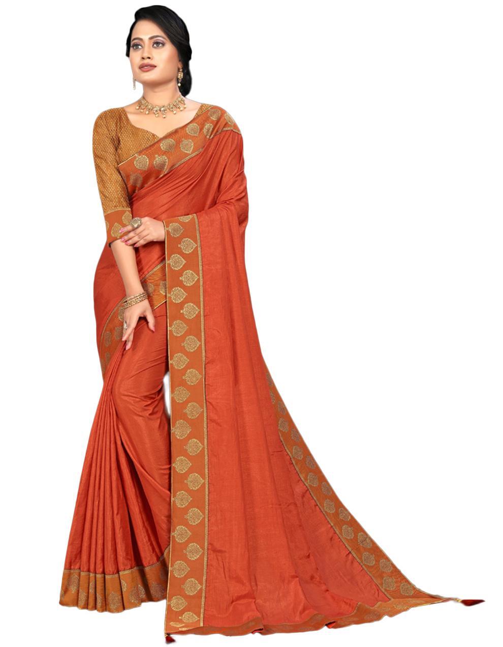 Orange Vichitra silk Saree With Blouse IW24561
