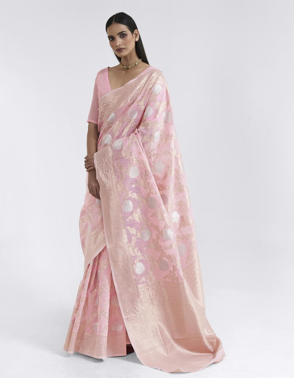 Light pink Linen Saree With Blouse SD25175
