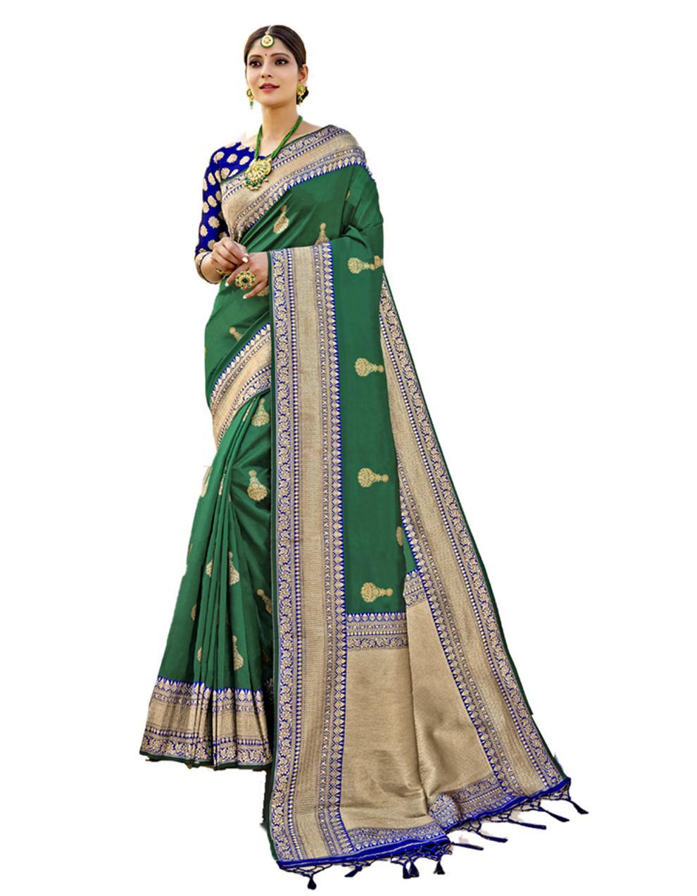 Green Banarasi Silk Saree With Blouse SD24205