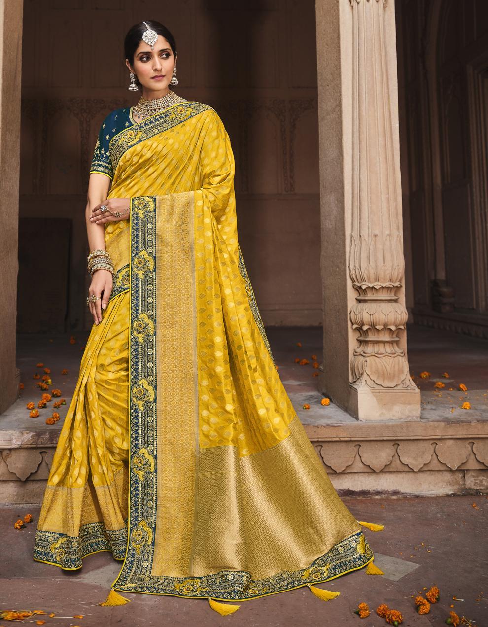 Yellow Dola Silk Saree With Blouse SD25184