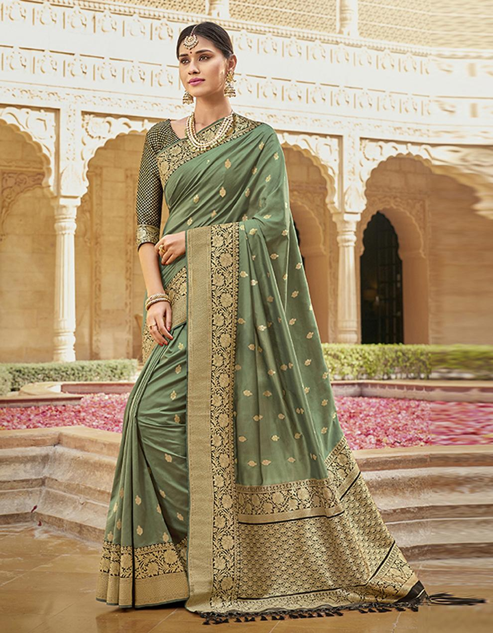 Pastel green Silk Saree With Blouse SD23781