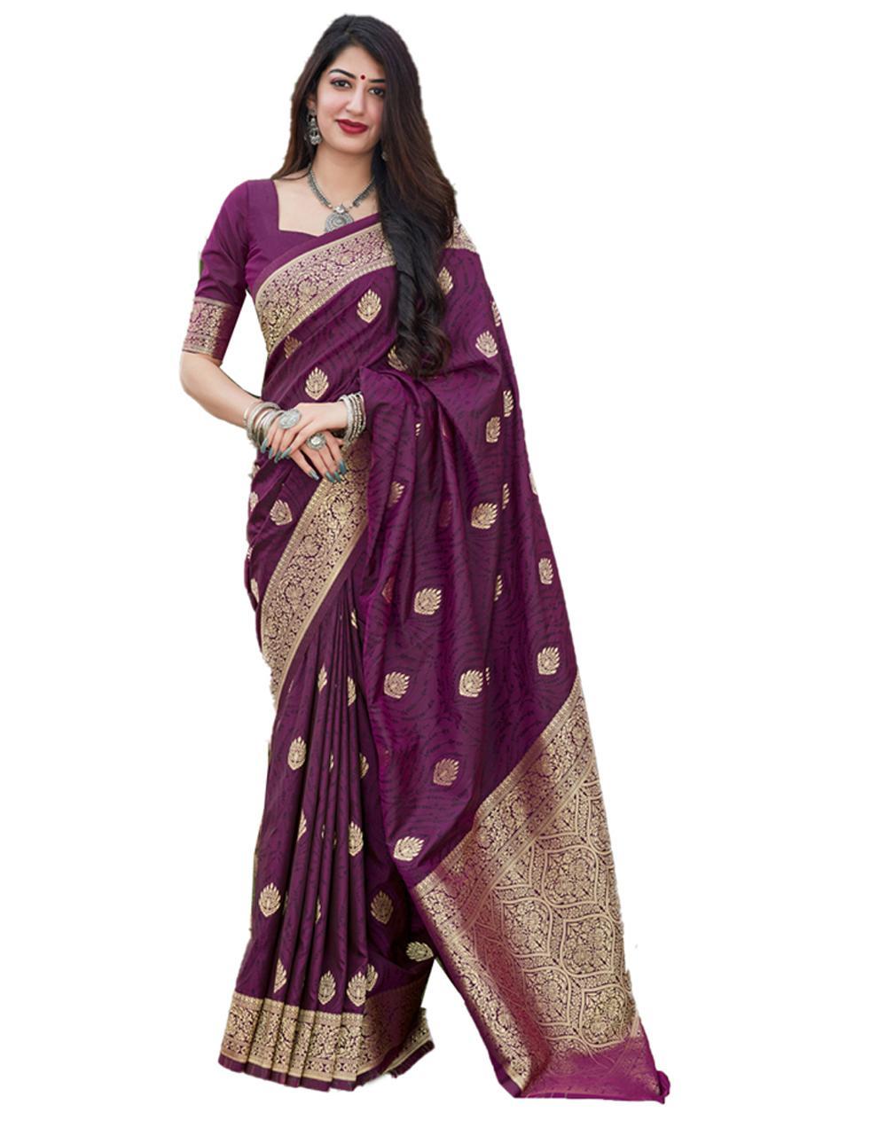 Purple Silk Saree With Blouse SD24128
