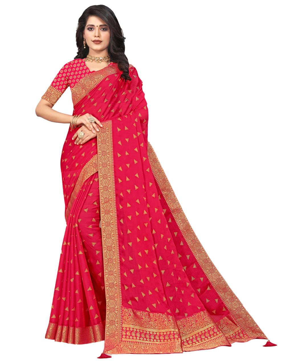 Pink Vichitra silk Saree With Blouse IW24373