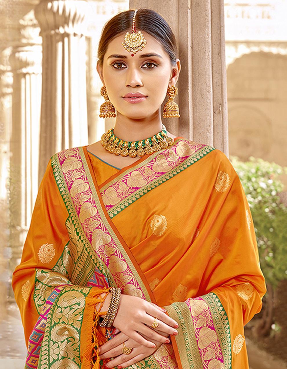 Yellow Silk Saree With Blouse SD23793