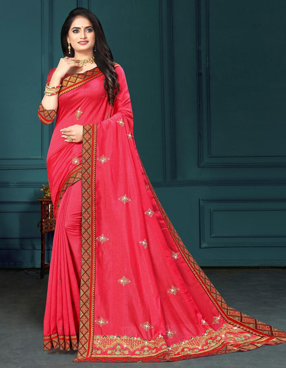 Pink Vichitra silk Saree With Blouse IW24270
