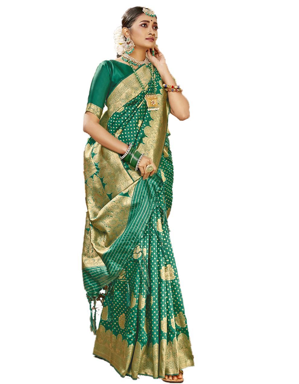 Green Banarasi Silk Saree With Blouse SD24186