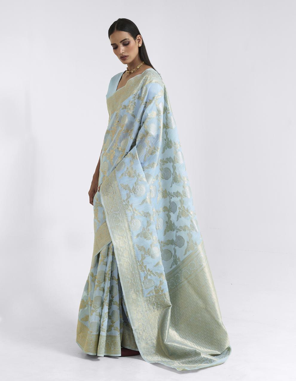Sky blue Linen Saree With Blouse SD25176