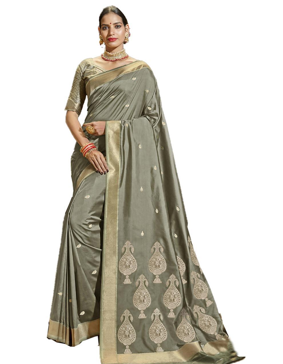 Grey Silk Saree With Blouse SD23753