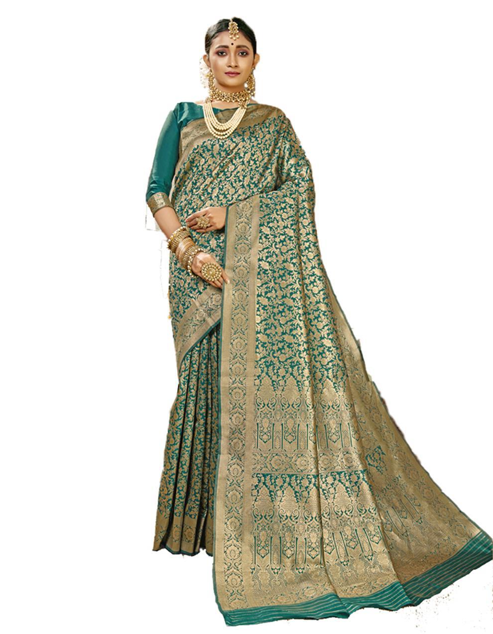 Green Banarasi Silk Saree With Blouse SD24181