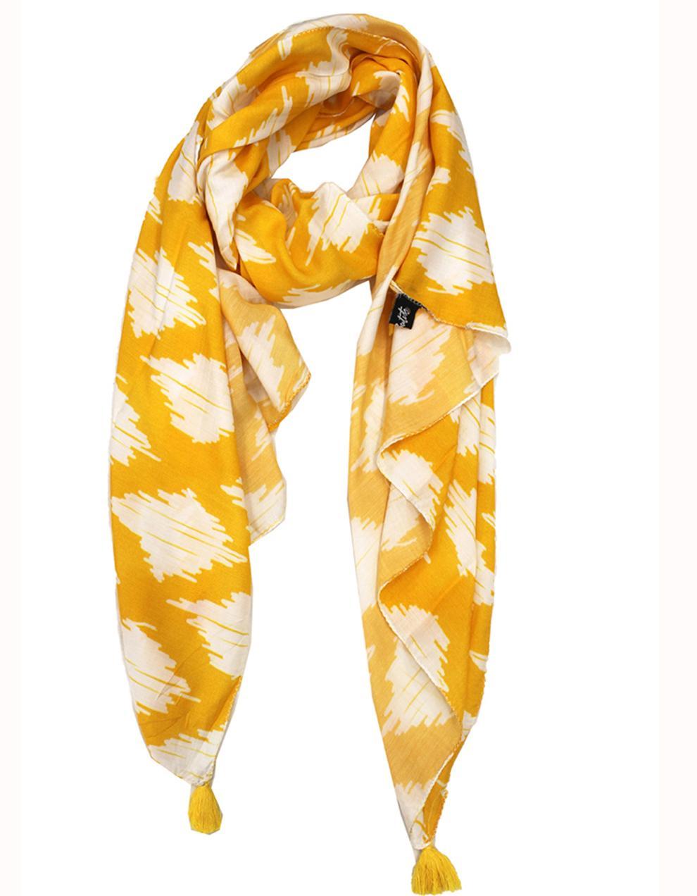Yellow  Viscose Printed Scarf SC38