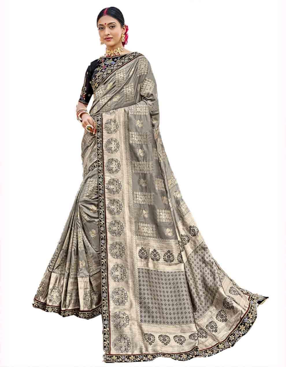 Grey Silk Saree With Blouse SD23772