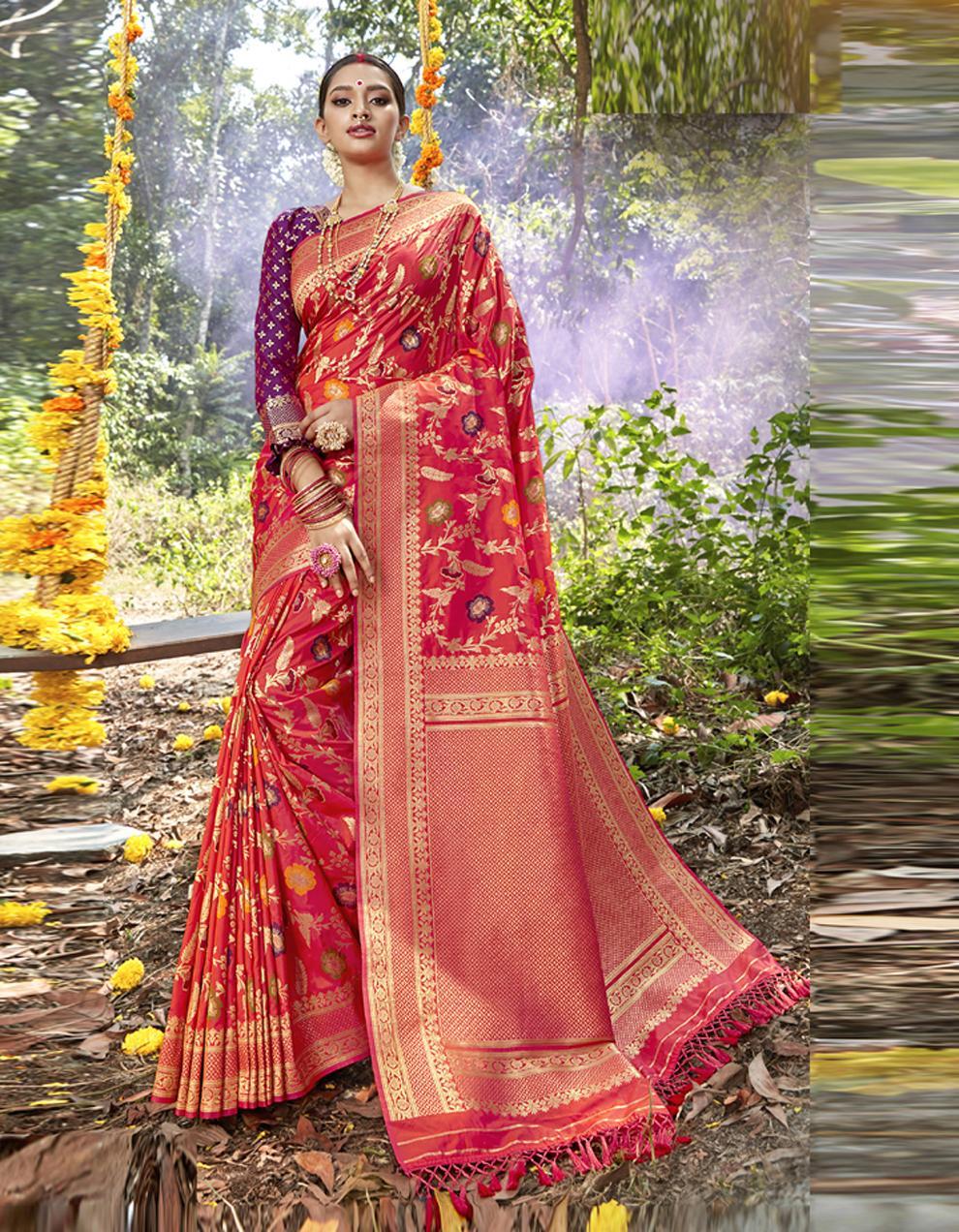Rani Pink Silk Saree With Blouse SD23830